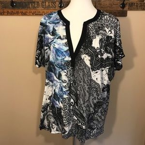 Chico's Size 2 Multi Color Tunic with Back Detail